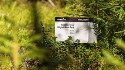 Komatsu spare parts box in forest